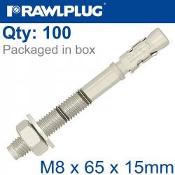 THROUGHBOLT M8X65X15MM X100 -BOX